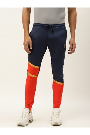 ACTOHOLIC Men Navy Blue & Coral Orange Colourblocked Joggers