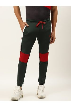 ACTOHOLIC Men Olive Green & Red Colourblocked Joggers with Striped Detail