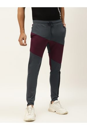 ACTOHOLIC Men Charcoal Grey & Burgundy Colourblocked Joggers