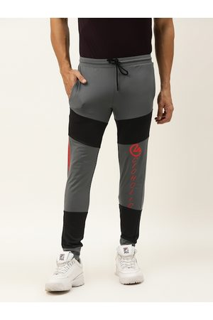 ACTOHOLIC Men Grey & Black Colourblocked Joggers