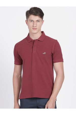Crocodile Men Maroon Solid Polo Collar T-shirt