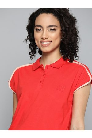 Mast & Harbour Women Red Pure Cotton Solid Polo Collar T-shirt