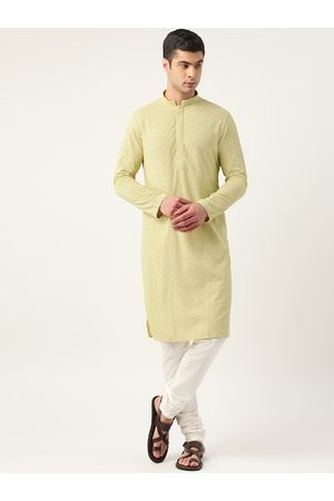 Manyavar Men Lime Green & White Embroidered Kurta with Churidar