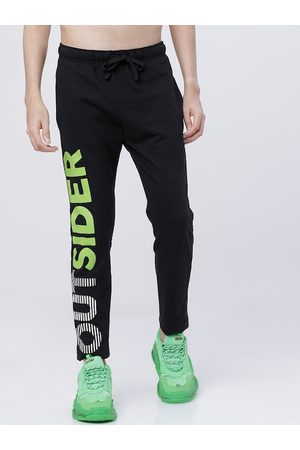 LocoMotive Men Black & Yellow Solid Slim- Fit Track Pants