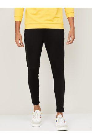 Kappa Men Black Solid Slim Fit Track Pants