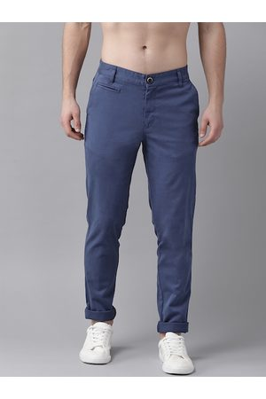 Roadster Men Blue Slim Fit Solid Chinos