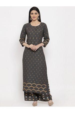 Anaisa Women Grey & Gold-Toned Printed Kurta with Palazzos