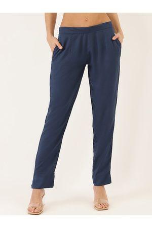 Cottinfab Women Blue Straight Fit Solid Regular Trousers