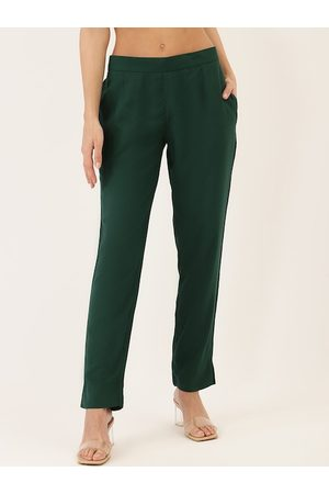 Cottinfab Women Green Straight Fit Solid Regular Trousers