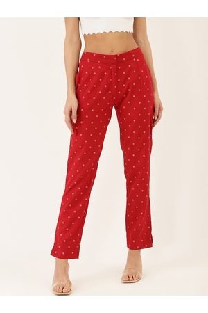 Cottinfab Women Red Straight Fit Printed Cigarette Trousers