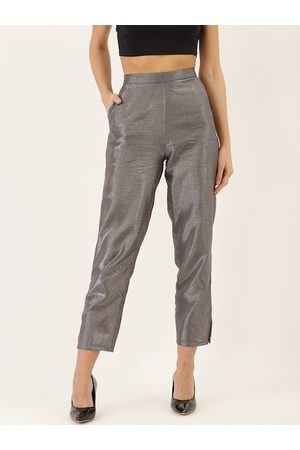 Cottinfab Women Grey Straight Fit Solid Regular Trousers