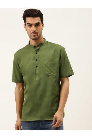 RAJUBHAI HARGOVINDAS Men Olive Green Solid Straight Kurta