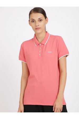 Head Women Coral Pink Solid Polo Collar T-shirt
