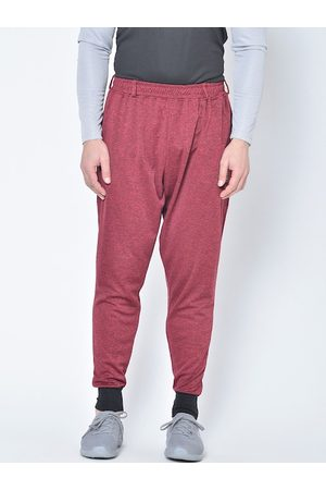 CHKOKKO Men Red Solid Knitted Training or Gym Joggers