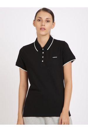 Head Women Short Sleeve - Women Black Solid Polo Collar T-shirt