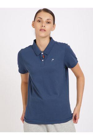 Head Women Navy Blue Solid Polo Collar T-shirt