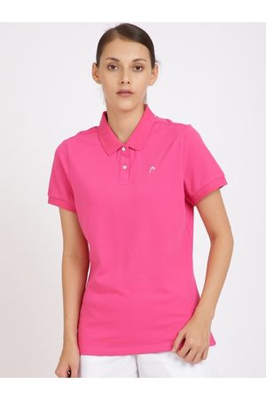 Head Women Short Sleeve - Women Pink Solid Polo Collar T-shirt