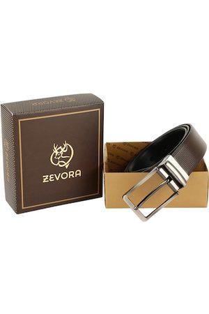 ZEVORA Men Brown & Black Textured Reversible Belt