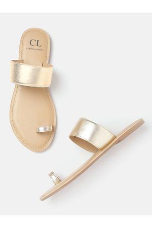 Carlton London Women Gold-Toned Solid One Toe Flats