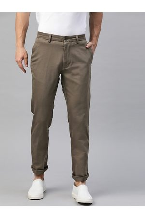 Marks & Spencer Men Taupe Slim Fit Solid Chinos