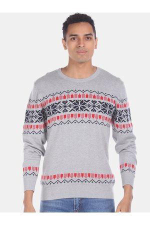 Aeropostale Men Grey & Black Fair Isle Sweater