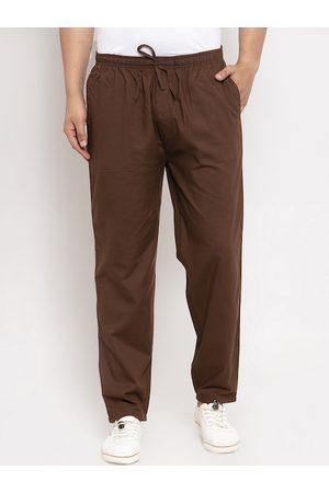 JAINISH Men Brown Solid Slim-Fit Track Pants