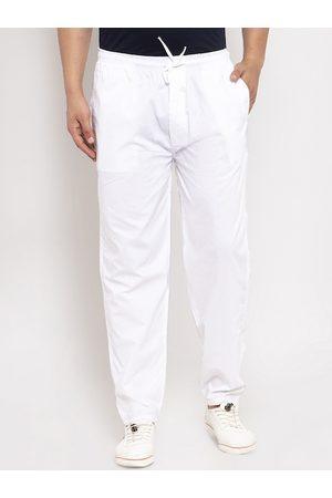 JAINISH Men White Solid Slim-Fit Track Pants