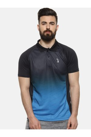 Campus Men Blue & Black Ombre Colourblocked Polo Collar Anti-Microbial T-shirt