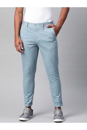 Marks & Spencer Men Blue Skinny Fit Self Design Regular Trousers