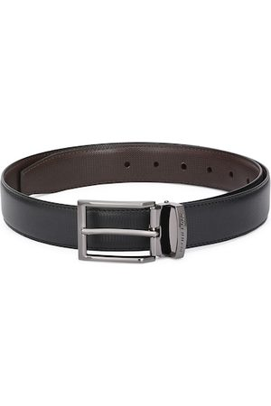 Pacific Men Black & Brown Solid Reversible Leather Belt
