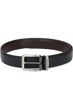 Pacific Gold Men Black & Brown Textured Genuine Leather Reversible Belt