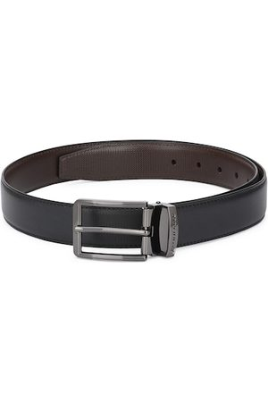 Pacific Men Black Solid Leather Reversible Belt