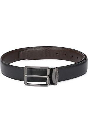 Pacific Men Black Solid Leather Reversible Belt