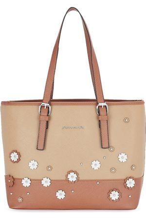Pierre Cardin Orange & Beige Textured Tote Bag