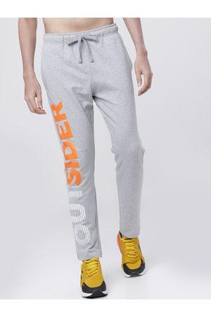 LocoMotive Men Grey & Orange Solid Slim-Fit Track Pants