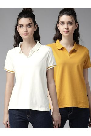 Roadster Women Pack of 2 Solid Spread Collar T-shirts