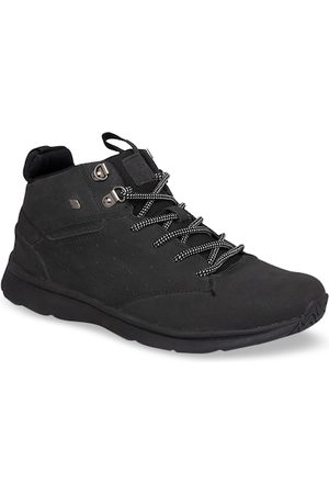 British Knights Men Black Solid Synthetic Leather Mid-Top Sneakers