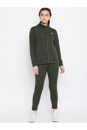 Clovia Women Green Solid Tracksuit