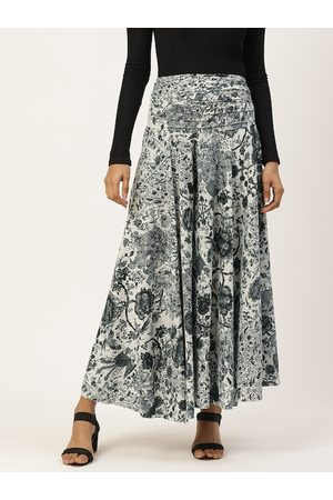Trend Arrest Women White & Grey Floral Print Flared Palazzos