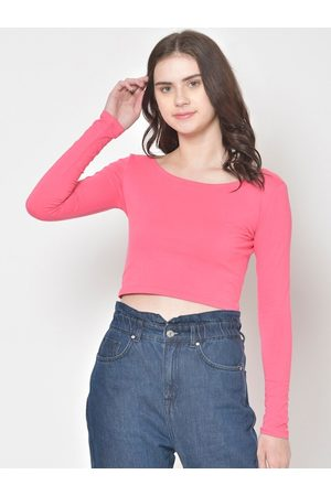 Cation Women Pink Solid Crop Top