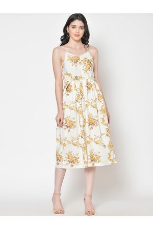 Cation Women Off-White Printed Fit and Flare Dress