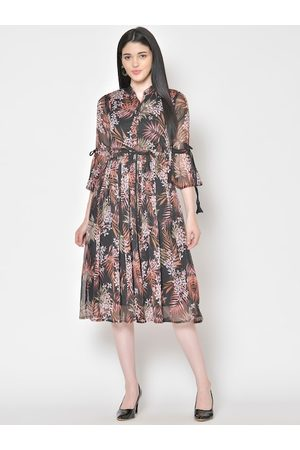 Cation Women Black & Pink Printed Fit and Flare Dress