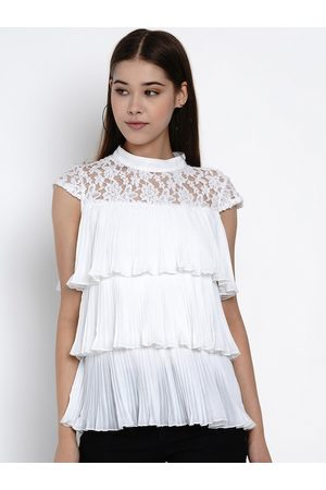 Texco Women White Solid Tiered Top