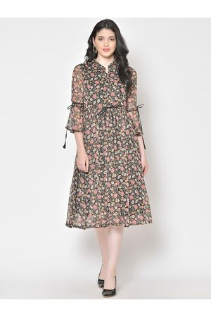 Cation Women Black & Pink Floral Printed Shirt Dress