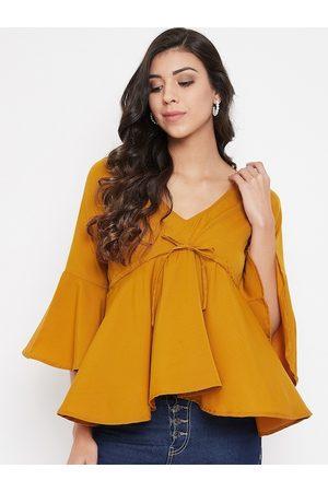 U&F Women Mustard Yellow Solid Empire Top