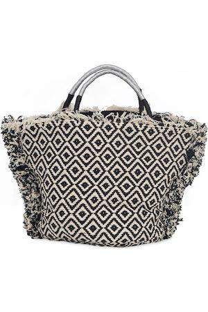 Diwaah Cream-Coloured & Black Textured Tote Bag