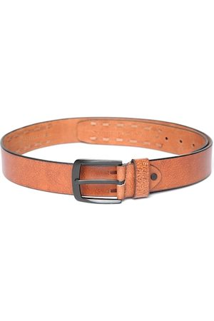 Flying Machine Men Tan Brown Solid Belt