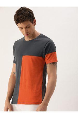 The Indian Garage Co Men Grey & Orange Colourblocked Round Neck T-shirt
