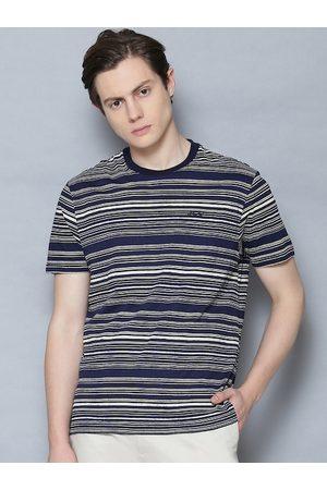 Ben Sherman Men Blue Striped Round Neck T-shirt