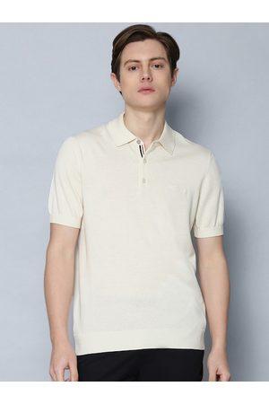 Ben Sherman Men Short Sleeve - Men Off-White Solid Polo Collar Cotton T-shirt